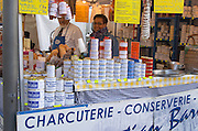 On a street market. Duck specialities in conserves. Bordeaux city, Aquitaine, Gironde, France
