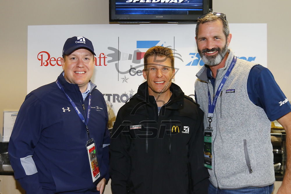 October 22, 2017 - Kansas City, Kansas, USA: Jamie McMurray (1) meets with guest before the Hollywood Casino 400 at Kansas Speedway in Kansas City, Kansas.