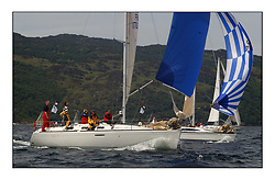Yachting- The first days inshore racing  of the Bell Lawrie Scottish series 2002 at Tarbert Loch Fyne. Near perfect conditions saw over two hundred yachts compete. <br />First 33.7 Shindig FRA17833 class 3<br />Pics Marc Turner / PFM