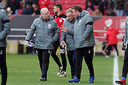 Cardiff City's coaching staff Kevin Blackwell (l) manager Neil Warnock (c) and Ronnie Jepson discuss tactics at half time. EFL Skybet championship match, Bristol City v Cardiff City at the Ashton Gate Stadium  in Bristol, Avon on Saturday 14th January 2017.<br /> pic by Carl Robertson, Andrew Orchard sports photography.