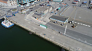 Aerial Still images around Dublin Port during COVID 19 lockdown, Stenna, CLdN, P&O, Cobbelfreight, Tolka Quay, Alexander Rd, Terminal 1,2 ,3, River Liffey, EXO, Building, East Link, Bridge, River Liffey, Samual Beckett Bridge, Capitol Dock, North Quay, Wall,