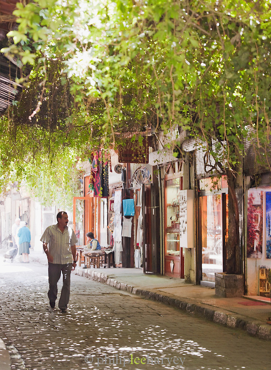 The quiet streets of a souq in the early morning in the Old City in Damascus, Syria