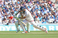 Moeen Ali of England plays a forward defensive shot during the 3rd day of the Investec Ashes Test match between England and Australia at the Oval, London, United Kingdom on 22 August 2015. Photo by Phil Duncan.