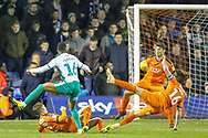 Goal Plymouth Argyle midfielder Joel Grant (16) scores a consolation goal during the EFL Sky Bet League 1 match between Luton Town and Plymouth Argyle at Kenilworth Road, Luton, England on 17 November 2018.