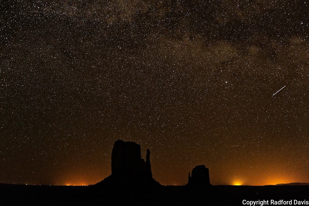 Night time shot of Monument Valley, with stars.
