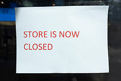 © Licensed to London News Pictures. 29/08/2021. London, UK. A closed sign on the GAP flagship clothes store on Oxford Street has closed. All of the 81 UK GAP physical stores will close by September 2021 and the company will continue to trade on-line. Photo credit: Ray Tang/LNP