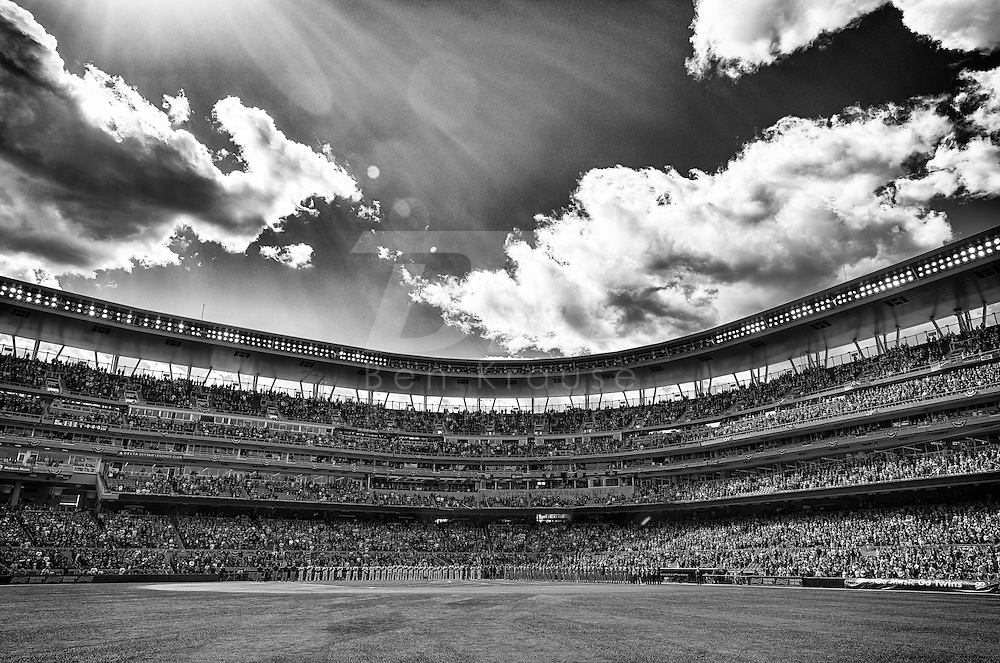 [Note: This photo was created by combining multiple exposures to create a high dynamic range photo and converted to black and white during post-processing.] 2015 Home Opener Minnesota Twins vs. Kansas City Royals on April 13, 2015 at Target Field in Minneapolis, Minnesota.  The Royals defeated the Twins 12 to 3.  Photo by Ben Krause