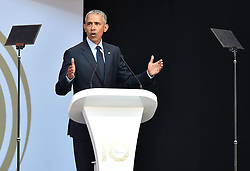 Former US president Barack Obama delivers the  Nelson Mandela annual lecture at Wanderers Stadium, Gauteng.<br />Picture: Itumeleng English/African News Agency (ANA)