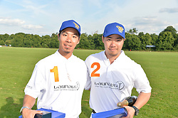 Left to right, TALSRIVADDHANAPRABHA , VICHAI SRIVADDHANAPRABHA and TOP SRIVADDHANAPRABHA at the Laureus Polo held at Ham Polo Club, Ham, Richmond, Surrey on 18th June 2015.