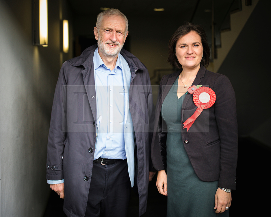 © Licensed to London News Pictures. 02/11/2019. Swindon, UK. Labour Party Leader Jeremy Corbyn (L) and Labour Prospective Parliament Candidate for South Swindon Sarah Church (R) at Commonweal Sixth Form College in Swindon for a campaign rally ahead of the general election on 12 December. Photo credit: Rob Pinney/LNP