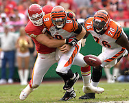 October 14, 2007 - Kansas City, MO..Quarterback Carson Palmer #9 of the Cincinnati Bengals fumbles the ball after getting hit by defensive end Jared Allen #69 of the Kansas City Chiefs in the second quarter, during a NFL football game at Arrowhead Stadium in Kansas City, Missouri on October 14, 2007...FBN:  The Chiefs defeated the Bengals 27-20.  .Photo by Peter G. Aiken/Cal Sport Media