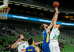 Milojko Vasilic of Hopsi vs Blaz Mesicek of Petrol Olimpija during basketball match between KK Petrol Olimpija and KK Hopsi Polzela in Round #2 of Liga NovaKBM 2018/19, on October 21, 2018, in Arena Stozice, Ljubljana, Slovenia. Photo by Vid Ponikvar / Sportida