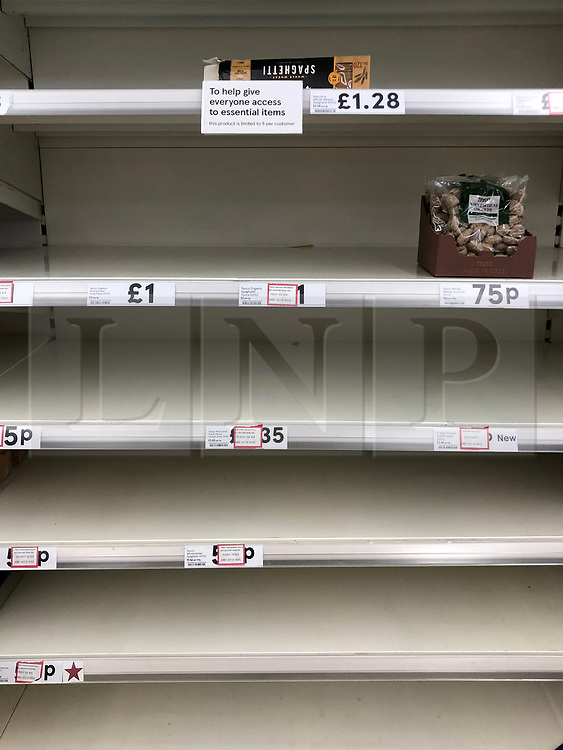 © Licensed to London News Pictures. 13/03/2020. Leeds UK. TESCO LEEDS. Empty Pasta shelves at Tesco in the Seacroft area of Leeds this morning as people continue to panic buy in fear of quarantine measures and shortages as the current Coronavirus ( COVID-19 ) spread starts to impact more people. Photo credit: Andrew McCaren/LNP