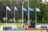 Flags of the teams during the UEFA European Under 17 Championship 2018 match between Israel and Italy at St George's Park National Football Centre, Burton-Upon-Trent, United Kingdom on 10 May 2018. Picture by Mick Haynes.