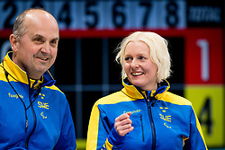 March 10, 2018 - Pyeongchang, SOUTH KOREA - 180310 Mats-Ola Engborg and Kristina Ulander, second skipper of Sweden, during the wheelchair curling mixed round robin session between Sweden and China during day one of the 2018 Winter Paralympics on March 10, 2018 in Pyeongchang..Photo: Vegard Wivestad GrÂ¿tt / BILDBYRN / kod VG / 170113 (Credit Image: © Vegard Wivestad Gr¯Tt/Bildbyran via ZUMA Press)