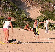 **EXCLUSIVE**.Martin Short with a female friend playing Frisbee.Salines Beach, St. Barth, Caribbean.Thursday, January, 15, 2003.Photo By Celebrityvibe.com/Photovibe.com...