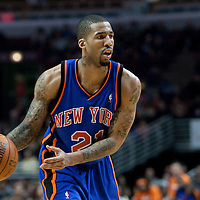 17 December 2009: New York Knicks forward Wilson Chandler looks for a teammate during the Chicago Bulls 98-89 victory over the New York Knicks at the United Center, in Chicago, Illinois, USA.
