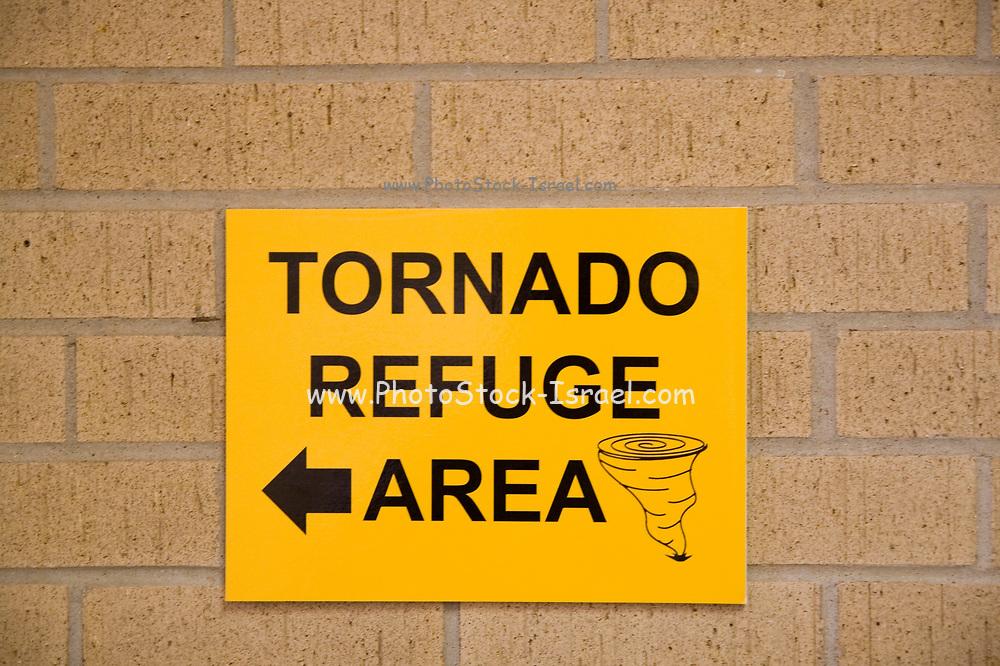 Tornado Refuge Area sign, Kansas KS USA
