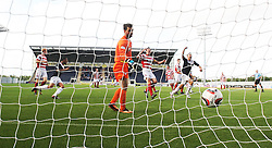 Hamilton's Kevin Cuthbert after Falkirk's Jay Fulton's goal<br /> Falkirk 1 v 2 Hamilton, Scottish Championship 31/8/2013.<br /> ©Michael Schofield.