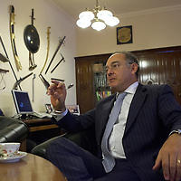 Interview with Hungarian defense minister Imre Szekeres in his office.