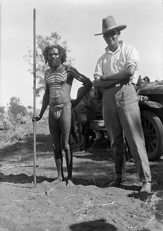 Aboriginal Chief With Westernized Trader, Central Australia, 1930