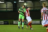 Forest Green Rovers Alfie Saunders(2) heads the ball during the FA Youth Cup match between U18 Forest Green Rovers and U18 Cheltenham Town at the New Lawn, Forest Green, United Kingdom on 29 October 2018.