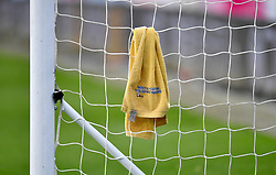 "A towel hangs in the goal netting ahead of the Premier League match at the John Smith's Stadium, Huddersfield. PRESS ASSOCIATION Photo. Picture date: Saturday November 10, 2018. See PA story SOCCER Huddersfield. Photo credit should read: Dave Howarth/PA Wire. RESTRICTIONS: EDITORIAL USE ONLY No use with unauthorised audio, video, data, fixture lists, club/league logos or ""live"" services. Online in-match use limited to 120 images, no video emulation. No use in betting, games or single club/league/player publications."