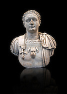 Roman marble sculpture bust of Emperor Domitian  81-96 AD, inv 6061 Farnese Collection, Naples Museum of Archaeology, Italy ..<br /> <br /> If you prefer to buy from our ALAMY STOCK LIBRARY page at https://www.alamy.com/portfolio/paul-williams-funkystock/greco-roman-sculptures.html . Type -    Naples    - into LOWER SEARCH WITHIN GALLERY box - Refine search by adding a subject, place, background colour, etc.<br /> <br /> Visit our ROMAN WORLD PHOTO COLLECTIONS for more photos to download or buy as wall art prints https://funkystock.photoshelter.com/gallery-collection/The-Romans-Art-Artefacts-Antiquities-Historic-Sites-Pictures-Images/C0000r2uLJJo9_s0