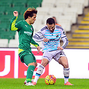 Fenerbahce's Volkan Sen (R) during their Turkish Super League soccer match Bursaspor between Fenerbahce at the Ataturk Stadium in Bursa Turkey on Saturday, 20 February 2016. Photo by TURKPIX
