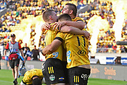 Hurricanes Luke Campbell, Dane Coles, and Wes Goosen celebrate a try in the Super Rugby match, Hurricanes v Crusaders, Sky Stadium, Wellington, Sunday, April 11, 2021. Copyright photo: Kerry Marshall / www.photosport.nz