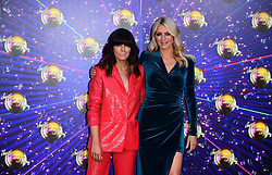 Claudia Winklemann and Tess Daly arriving at the red carpet launch of Strictly Come Dancing 2019, held at BBC TV Centre in London, UK.