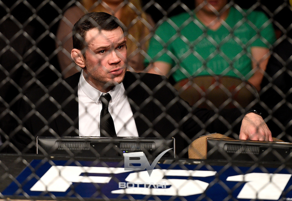 LAS VEGAS, NV - DECEMBER 03:  UFC Hall of Famer Forrest Griffin looks on during The Ultimate Fighter Finale event inside the Pearl concert theater at the Palms Resort & Casino on December 3, 2016 in Las Vegas, Nevada. (Photo by Jeff Bottari/Zuffa LLC/Zuffa LLC via Getty Images)