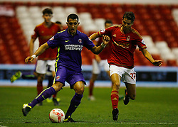 Ahmed Kashi of Charlton Athletic (L) and Jorge Grant of Nottingham Forest in action - Mandatory byline: Jack Phillips / JMP - 07966386802 - 18/8/2015 - FOOTBALL - The City Ground - Nottingham, Nottinghamshire - Nottingham Forest v Charlton Athletic - Sky Bet Championship