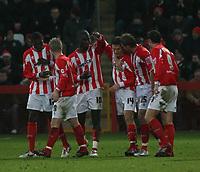 Photo: Mark Stephenson.<br />Cheltenham Town v Bristol City. Coca Cola League 1. 23/12/2006.<br />David Bird,no 14 celebrate's Cheltenham's second goal.