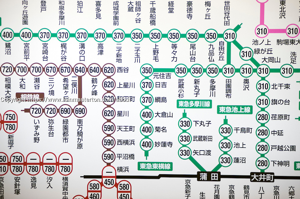 Detail of map of urban railway network in Tokyo