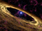 This artist's concept depicts a type of dead star called a pulsar and the surrounding disk of rubble discovered by NASA's Spitzer Space Telescope. The pulsar, called 4U 0142+61, was once a massive star until about 100,000 years ago when it blew up in a supernova explosion and scattered dusty debris into space. Some of that debris was captured into what astronomers refer to as a 'fall-back disk,' now circling the remaining stellar core, or pulsar. The disk resembles protoplanetary disks around young stars, out of which planets are thought to be born. Supernovas are a source of iron, nitrogen and other 'heavy metals' in the universe.