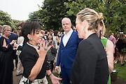 DAME SHIRLEY BASSEY; HANS ULRICH-OBRIST; KATE MOSS;  2016 SERPENTINE SUMMER FUNDRAISER PARTY CO-HOSTED BY TOMMY HILFIGER. Serpentine Pavilion, Designed by Bjarke Ingels (BIG), Kensington Gardens. London. 6 July 2016
