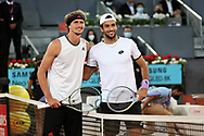Alexander Zverev of Germany and Matteo Berrettini of Italy during the Men's Singles Final match at the Mutua Madrid Open 2021, Masters 1000 tennis tournament on May 9, 2021 at La Caja Magica in Madrid, Spain - Photo Laurent Lairys / ProSportsImages / DPPI