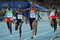 ATHLETICS - IAAF WORLD CHAMPIONSHIPS 2011 - DAEGU (KOR) - DAY 9 - 04/09/2011 - PHOTO : STEPHANE KEMPINAIRE / KMSP / DPPI - <br /> 5000 M - MEN - FINAL - WINNER - GOLD MEDAL - MO FARAH (GBR) - SILVER MEDAL - BERNARD LAGAT (USA)
