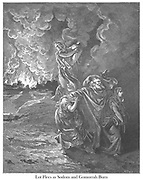 Lot flees as Sodom and Gomorrah burn or The Flight of Lot Genesis 19:24-26 From the book 'Bible Gallery' Illustrated by Gustave Dore with Memoir of Doré and Descriptive Letter-press by Talbot W. Chambers D.D. Published by Cassell & Company Limited in London and simultaneously by Mame in Tours, France in 1866