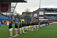 Rugby Union - 2021 Women's Six Nations - Group B - Round Two - Wales vs Ireland - Cardiff Arms Park<br /> <br /> The Irish team stands for 2 minutes since in memory of HRH Prince Philip the Duke of Edinburgh<br /> <br /> COLORSPORT/WINSTON BYNORTH