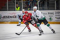46# Stojan Nejc of HK SIJ Acroni Jesenice during ice hockey match between HK SIJ Acroni Jesenice and HK SZ Olimpija in Round #12 of Alps Hockey League 2018/19 , on October 27, 2018 in Podmezakla hall , Jesenice, Slovenia. Photo by Urban Meglic / Sportida