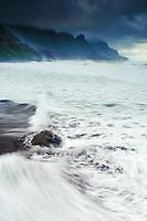 The Wild coast, in a stormy day, in Benijo, Anaga Peninsula, North-east Tenerife. Tenerife  Island, Canary Islands, Spain.