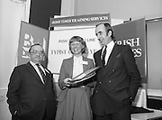 Typist Of The Year.1983.17.11.1983.11.17.1983.17th november 1983..Ms Paula Sommers won the award of Typist Of The Year which was jointly sponsored by The Irish Times and B & I Lines..A very happy Ms Paula Sommers poses with her awards..