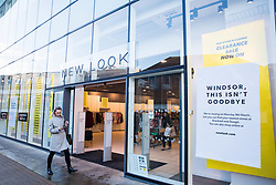 Windsor, UK. 13 February, 2020. A New Look store in Windsor Yards, a shopping area in the heart of the historic town, displays closing down notices. A nearby Topshop store is also earmarked for closure and Timberland and Lakeland stores have been closed in Windsor Yards since the New Year. The closures are indicative of difficult trading conditions for high-street retail.