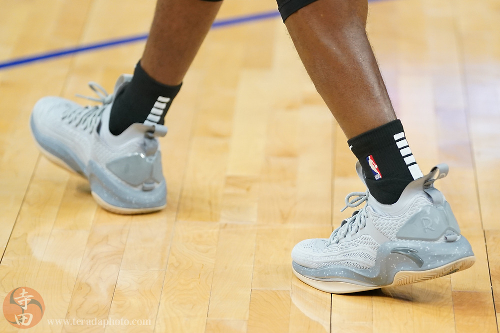 February 27, 2020; San Francisco, California, USA; Detail view of the Anta shoes worn by Los Angeles Lakers guard Rajon Rondo (9) before the game against the Golden State Warriors at Chase Center.