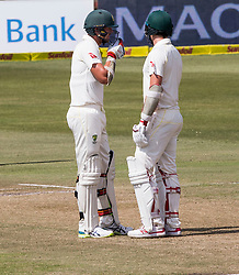 Durban. 040318. Josh Hazelwood and POat Cummings of Australia during day 4 of the 1st Sunfoil Test match between South Africa and Australia at Sahara Stadium Kingsmead on March 03, 2018 in Durban, South Africa. Picture Leon Lestrade/African News Agency/ANA