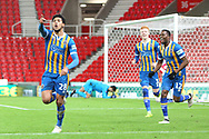 28 Josh Laurent celebrates the third goal for Shrewsbury Town during the The FA Cup 3rd round replay match between Stoke City and Shrewsbury Town at the Bet365 Stadium, Stoke-on-Trent, England on 15 January 2019.