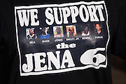 Thousands gather outside the LaSalle Parish court house and show their support for the Jena 6 by wearing a variety of t-shirts to show support and slogans. Rev. Al Sharpton and Michale b from the radio organized the ralley in Jena Louisiana Thursday Sept. 2007.(Photo/© Suzi Altman)
