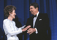 President Ronald Reagan and First Lady Nancy Reagan at an event at the Capitol Hilton in 1985..Photograph by Dennis Brack bb30